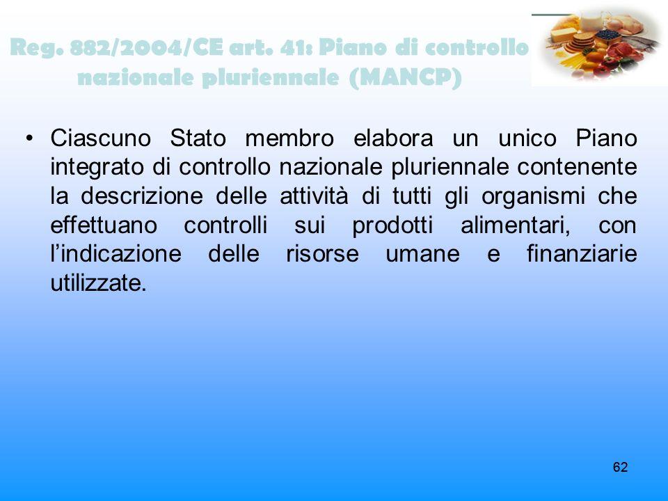 62 Reg. 882/2004/CE art. 41: Piano di controllo nazionale pluriennale (MANCP) Ciascuno Stato membro elabora un unico Piano integrato di controllo nazi