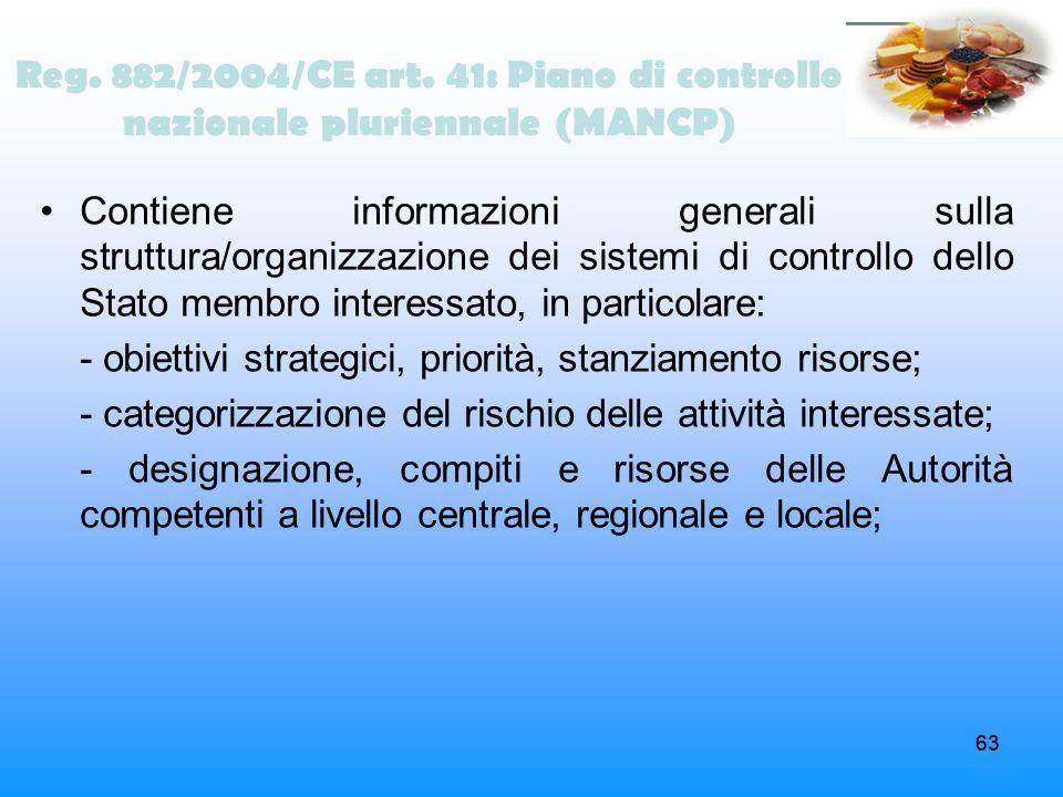 63 Contiene informazioni generali sulla struttura/organizzazione dei sistemi di controllo dello Stato membro interessato, in particolare: - obiettivi
