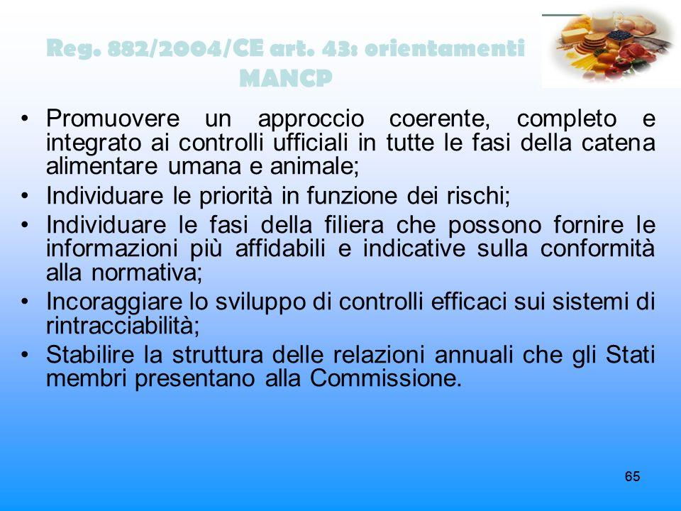 65 Reg. 882/2004/CE art. 43: orientamenti MANCP Promuovere un approccio coerente, completo e integrato ai controlli ufficiali in tutte le fasi della c