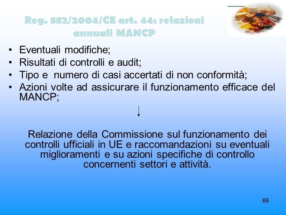 66 Reg. 882/2004/CE art. 44: relazioni annuali MANCP Eventuali modifiche; Risultati di controlli e audit; Tipo e numero di casi accertati di non confo
