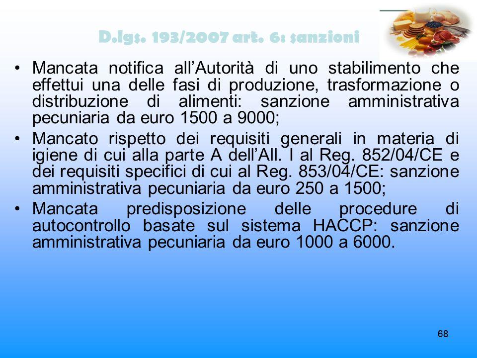 68 D.lgs. 193/2007 art. 6: sanzioni Mancata notifica allAutorità di uno stabilimento che effettui una delle fasi di produzione, trasformazione o distr