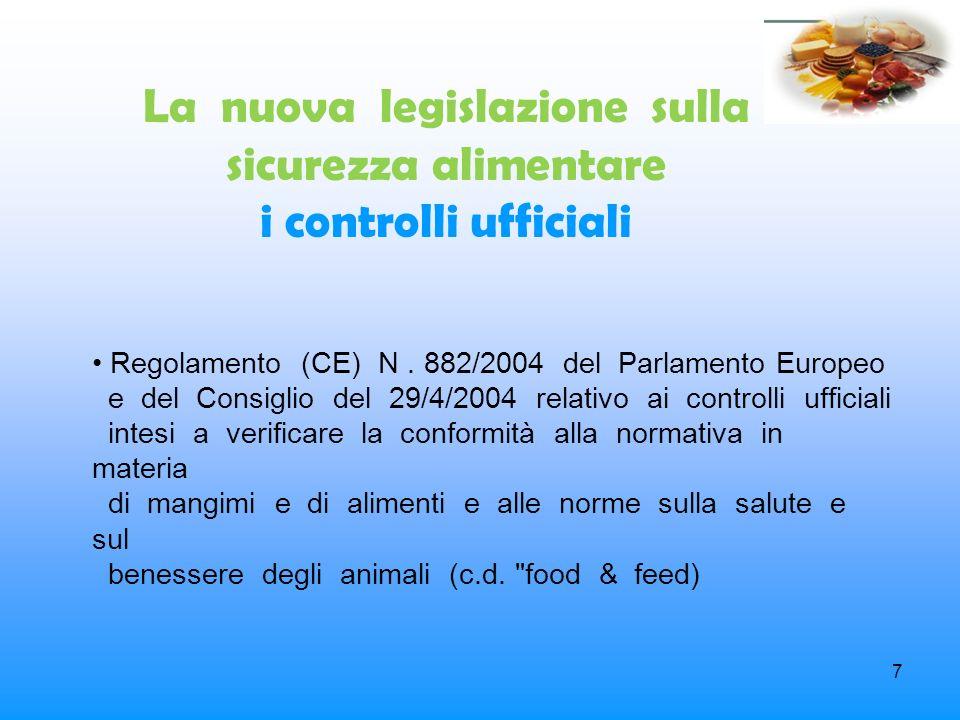 7 La nuova legislazione sulla sicurezza alimentare i controlli ufficiali Regolamento (CE) N. 882/2004 del Parlamento Europeo e del Consiglio del 29/4/