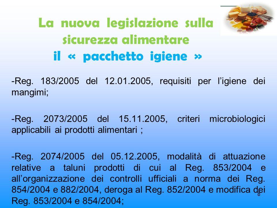 8 La nuova legislazione sulla sicurezza alimentare il « pacchetto igiene » -Reg. 183/2005 del 12.01.2005, requisiti per ligiene dei mangimi; -Reg. 207
