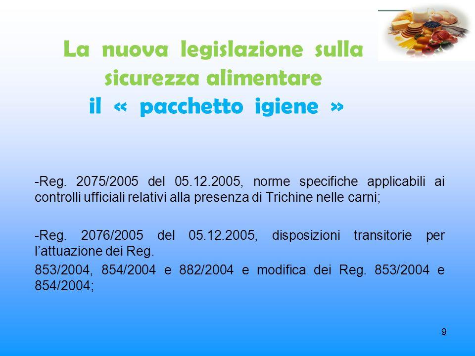 9 La nuova legislazione sulla sicurezza alimentare il « pacchetto igiene » -Reg. 2075/2005 del 05.12.2005, norme specifiche applicabili ai controlli u