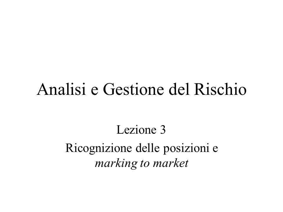 Analisi e Gestione del Rischio Lezione 3 Ricognizione delle posizioni e marking to market