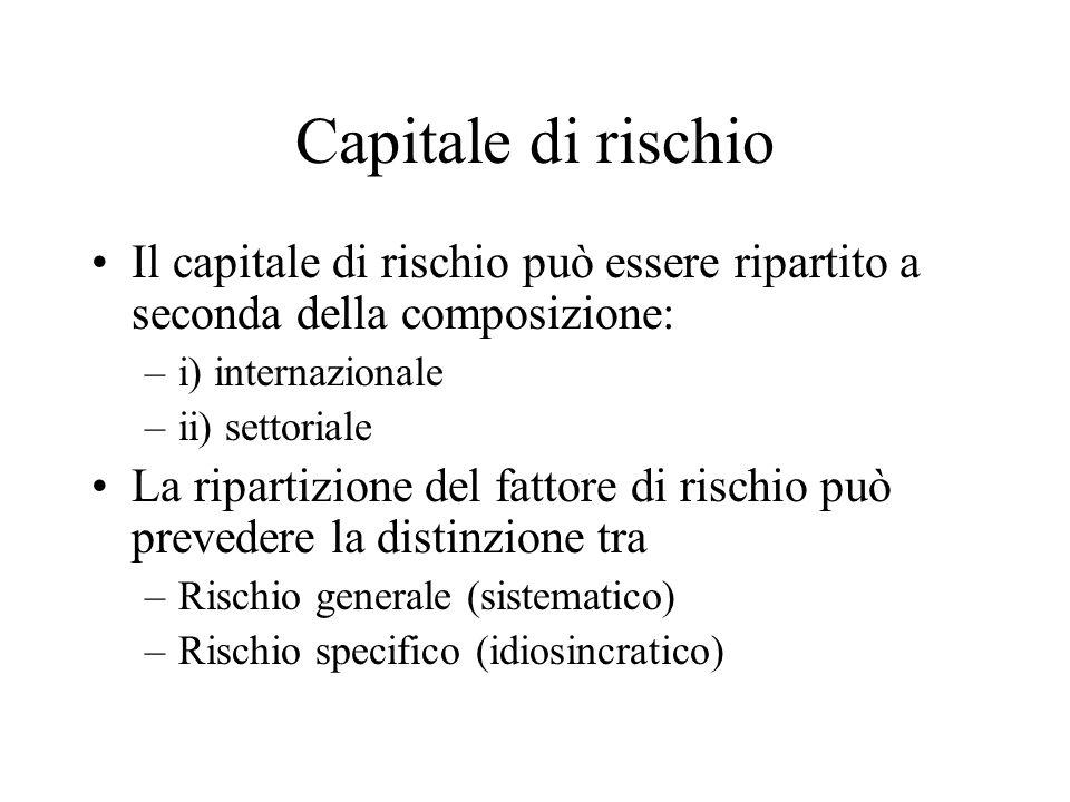 Capitale di rischio Il capitale di rischio può essere ripartito a seconda della composizione: –i) internazionale –ii) settoriale La ripartizione del fattore di rischio può prevedere la distinzione tra –Rischio generale (sistematico) –Rischio specifico (idiosincratico)