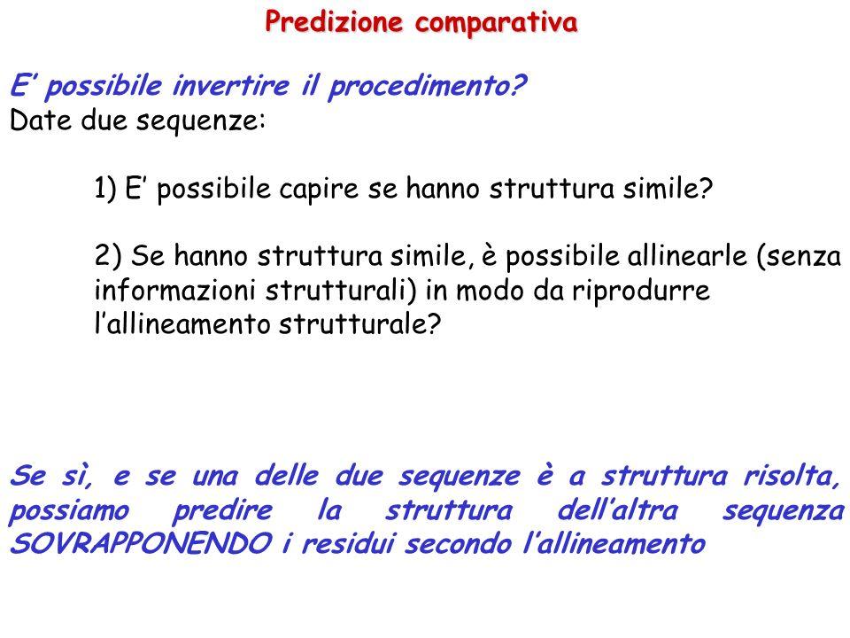 Predizione comparativa E possibile invertire il procedimento? Date due sequenze: 1) E possibile capire se hanno struttura simile? 2) Se hanno struttur