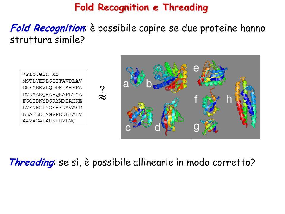 Fold Recognition: è possibile capire se due proteine hanno struttura simile? >Protein XY MSTLYEKLGGTTAVDLAV DKFYERVLQDDRIKHFFA DVDMAKQRAHQKAFLTYA FGGT