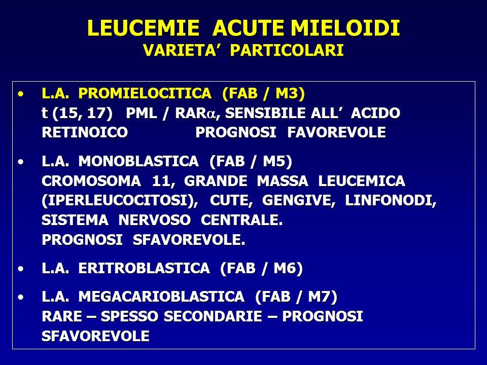 L.A. PROMIELOCITICA (FAB / M3) t (15, 17) PML / RAR, SENSIBILE ALL ACIDO RETINOICO PROGNOSI FAVOREVOLEL.A. PROMIELOCITICA (FAB / M3) t (15, 17) PML /