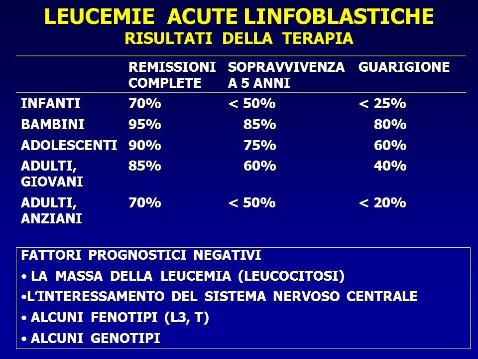 RISULTATI DELLA TERAPIA REMISSIONI COMPLETE SOPRAVVIVENZA A 5 ANNI GUARIGIONE INFANTI70% < 50% < 25% BAMBINI95% 85% 85% 80% 80% ADOLESCENTI90% 75% 75%