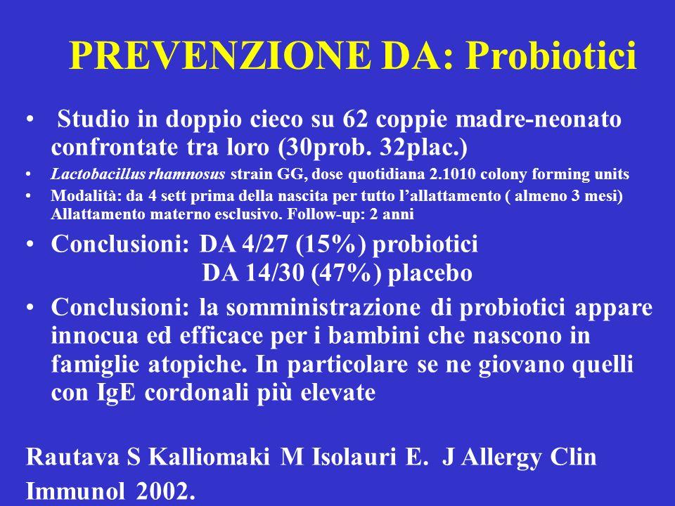 PREVENZIONE DA: Probiotici Studio in doppio cieco su 62 coppie madre-neonato confrontate tra loro (30prob. 32plac.) Lactobacillus rhamnosus strain GG,