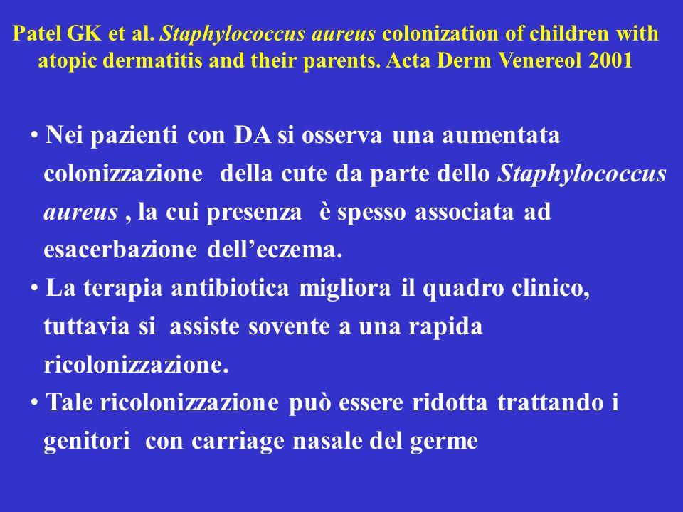 Patel GK et al. Staphylococcus aureus colonization of children with atopic dermatitis and their parents. Acta Derm Venereol 2001 Nei pazienti con DA s