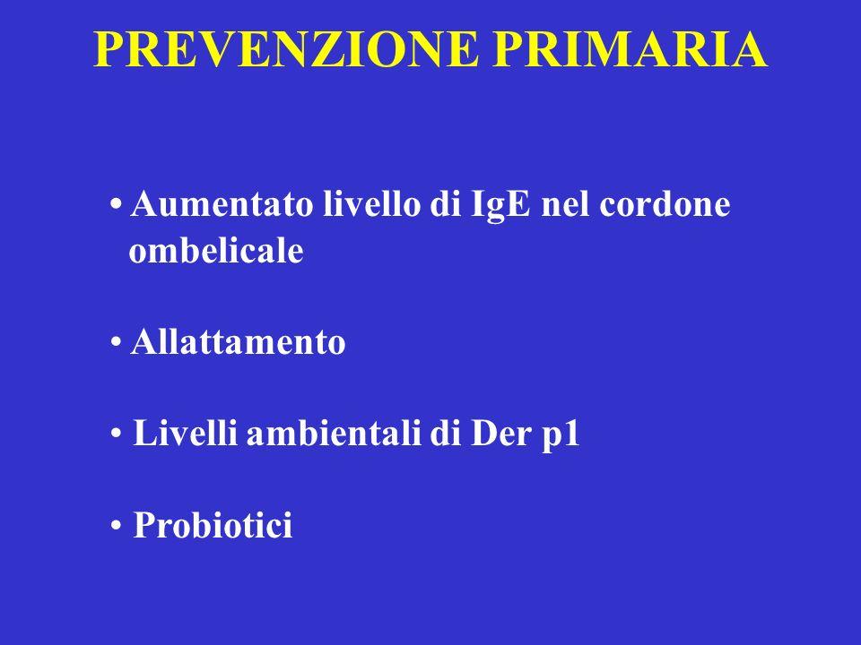 PREVENZIONE PRIMARIA Aumentato livello di IgE nel cordone ombelicale Allattamento Livelli ambientali di Der p1 Probiotici