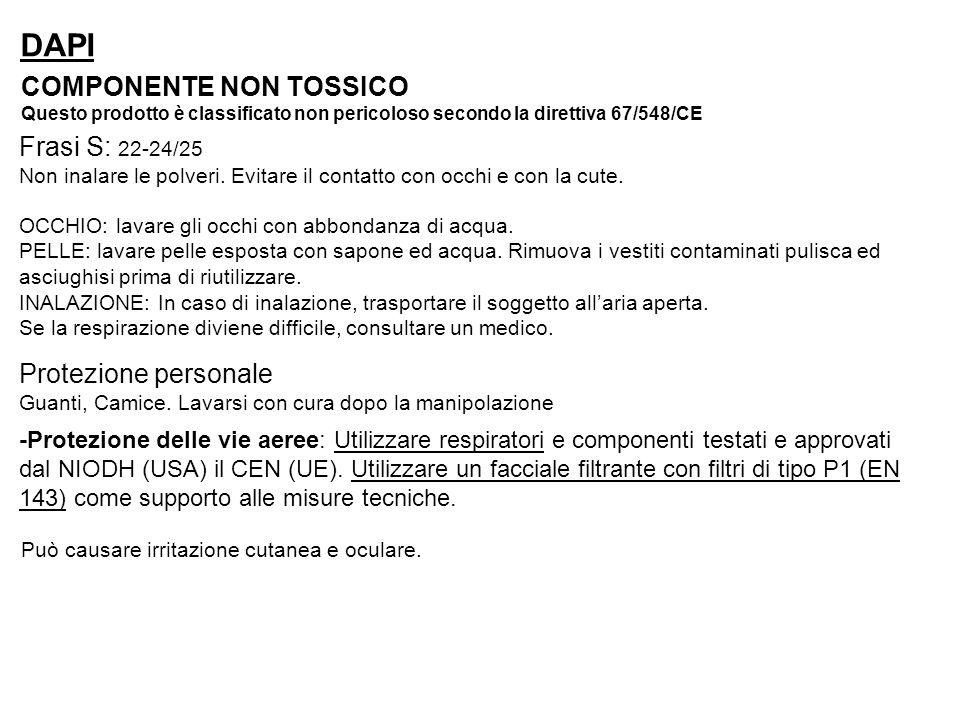 DAPI COMPONENTE NON TOSSICO Questo prodotto è classificato non pericoloso secondo la direttiva 67/548/CE OCCHIO: lavare gli occhi con abbondanza di ac