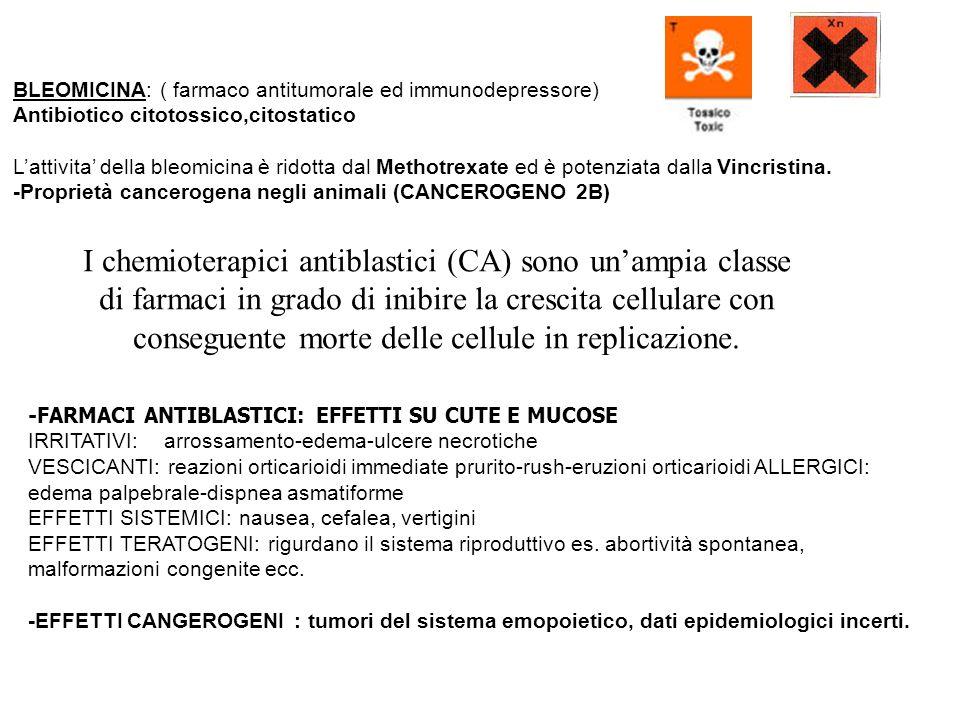 BLEOMICINA: ( farmaco antitumorale ed immunodepressore) Antibiotico citotossico,citostatico Lattivita della bleomicina è ridotta dal Methotrexate ed è