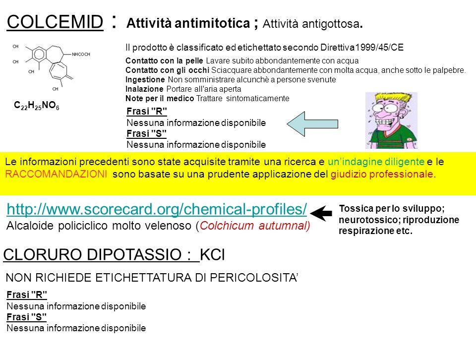 COLCEMID : CLORURO DIPOTASSIO : KCl Attività antimitotica ; Attività antigottosa. C 22 H 25 NO 6 Frasi