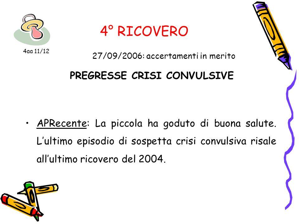 4° RICOVERO 27/09/2006: accertamenti in merito PREGRESSE CRISI CONVULSIVE APRecente: La piccola ha goduto di buona salute. Lultimo episodio di sospett