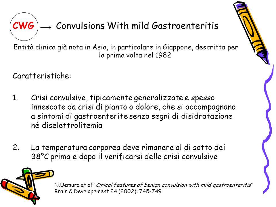 CWG Convulsions With mild Gastroenteritis Entità clinica già nota in Asia, in particolare in Giappone, descritta per la prima volta nel 1982 Caratteri