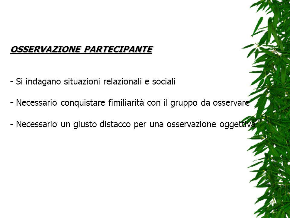 OSSERVAZIONE PARTECIPANTE OSSERVAZIONE PARTECIPANTE - Si indagano situazioni relazionali e sociali - Necessario conquistare fimiliarità con il gruppo