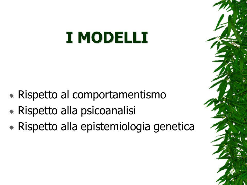 I MODELLI Rispetto al comportamentismo Rispetto alla psicoanalisi Rispetto alla epistemiologia genetica