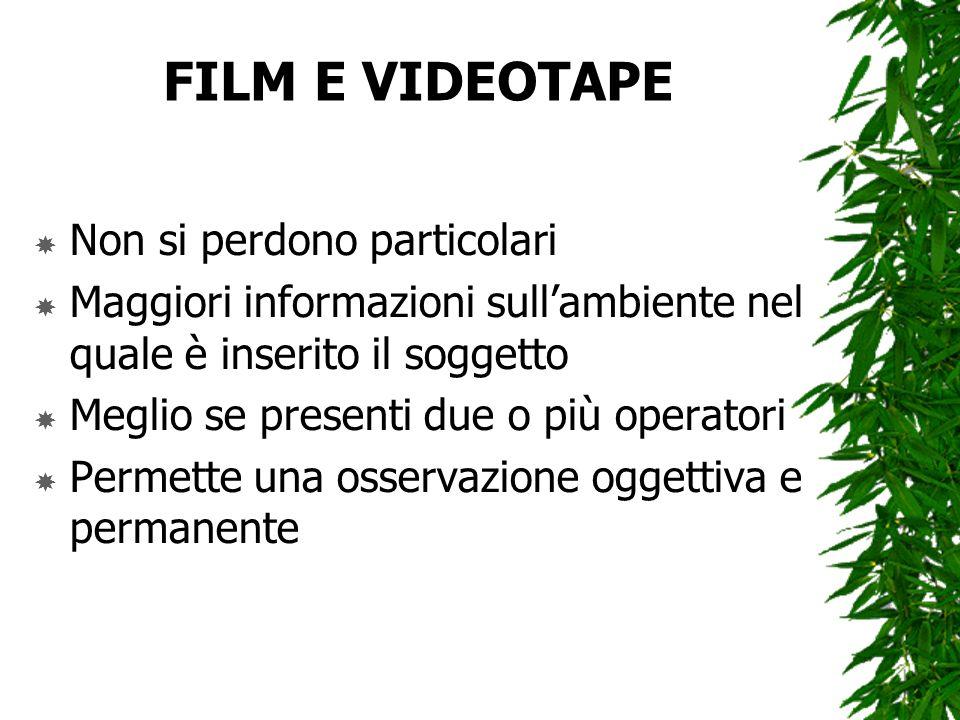 FILM E VIDEOTAPE Non si perdono particolari Maggiori informazioni sullambiente nel quale è inserito il soggetto Meglio se presenti due o più operatori