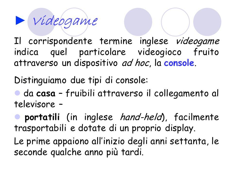 Videogame Il corrispondente termine inglese videogame indica quel particolare videogioco fruito attraverso un dispositivo ad hoc, la console. Distingu
