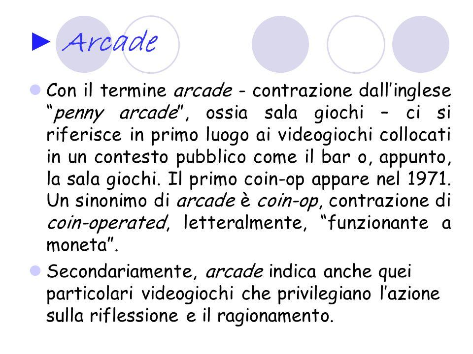 Arcade Con il termine arcade - contrazione dallinglesepenny arcade, ossia sala giochi – ci si riferisce in primo luogo ai videogiochi collocati in un