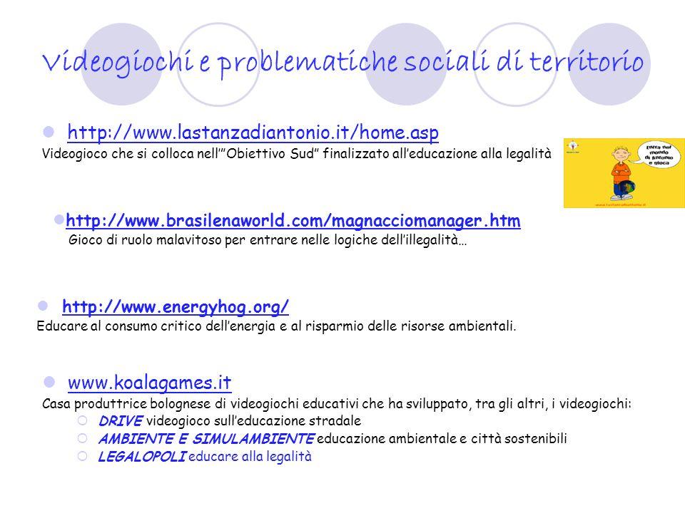 Videogiochi e problematiche sociali di territorio http://www.lastanzadiantonio.it/home.asp Videogioco che si colloca nellObiettivo Sud finalizzato all