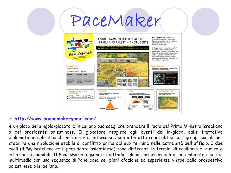 PaceMaker http://www.peacemakergame.com/ è un gioco del singolo-giocatore in cui uno può scegliere prendere il ruolo del Primo Ministro israeliano o d