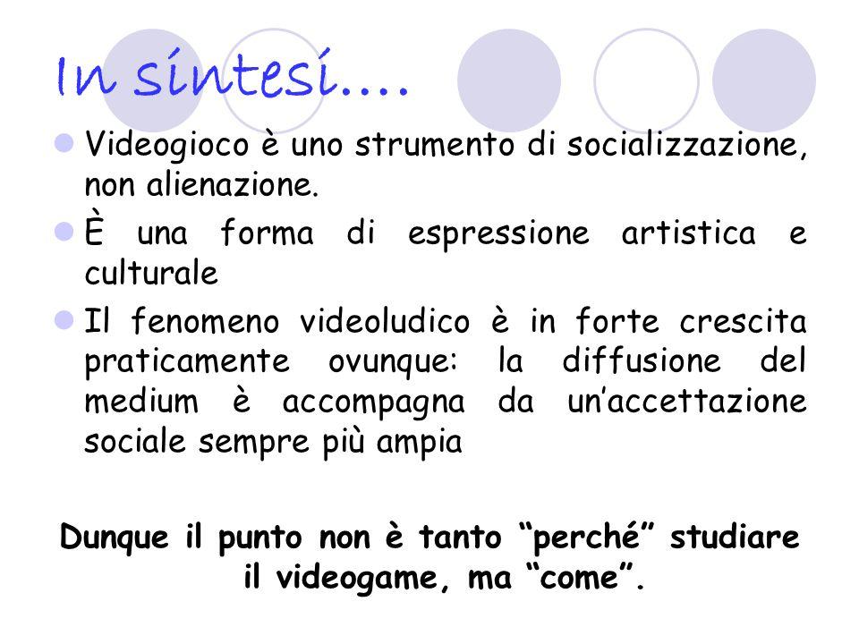 In sintesi…. Videogioco è uno strumento di socializzazione, non alienazione. È una forma di espressione artistica e culturale Il fenomeno videoludico