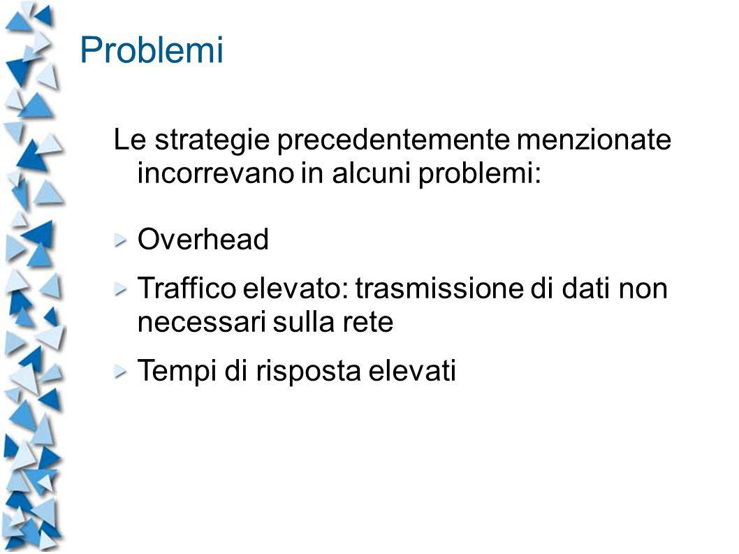 Problemi Le strategie precedentemente menzionate incorrevano in alcuni problemi: Overhead Traffico elevato: trasmissione di dati non necessari sulla rete Tempi di risposta elevati