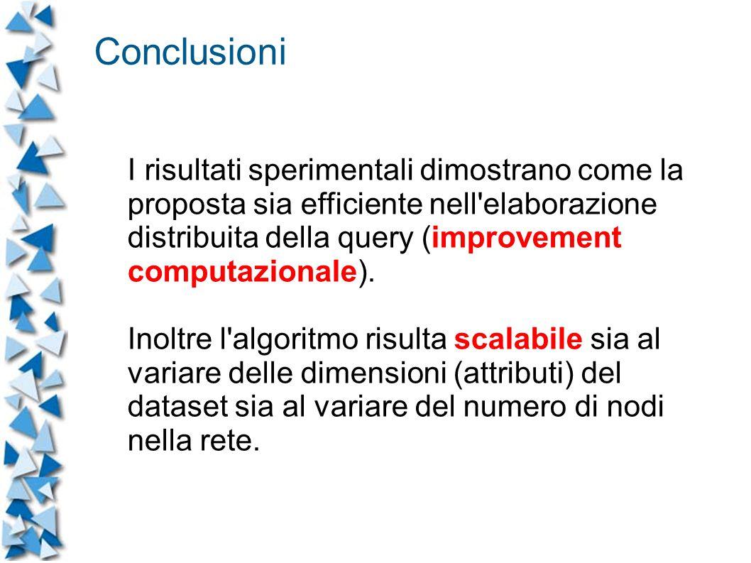 I risultati sperimentali dimostrano come la proposta sia efficiente nell elaborazione distribuita della query (improvement computazionale).
