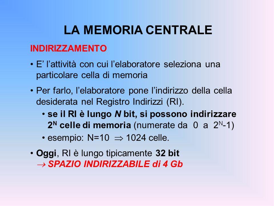 LA MEMORIA CENTRALE INDIRIZZAMENTO E lattività con cui lelaboratore seleziona una particolare cella di memoria Per farlo, lelaboratore pone lindirizzo