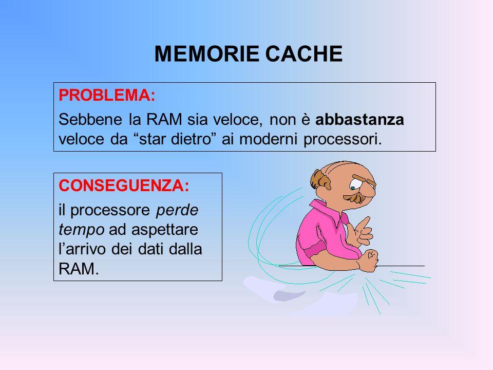 MEMORIE CACHE PROBLEMA: Sebbene la RAM sia veloce, non è abbastanza veloce da star dietro ai moderni processori. CONSEGUENZA: il processore perde temp