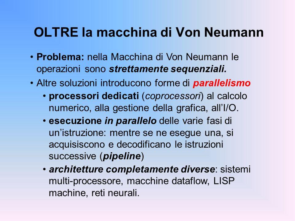 OLTRE la macchina di Von Neumann Problema: nella Macchina di Von Neumann le operazioni sono strettamente sequenziali. Altre soluzioni introducono form