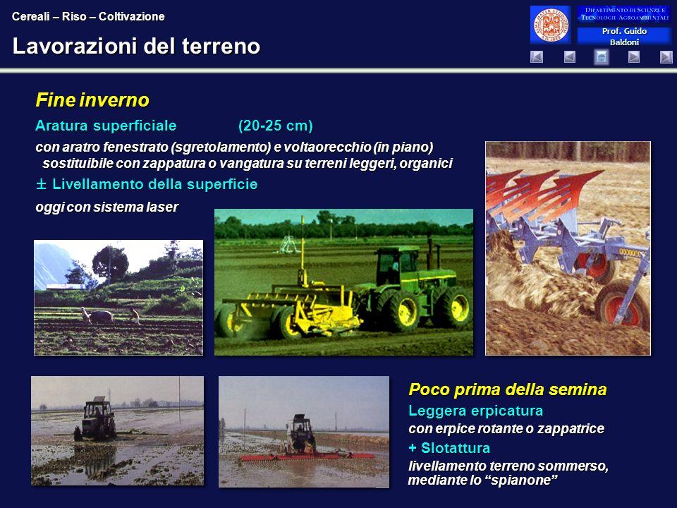 Prof. Guido Baldoni Prof. Guido Baldoni Lavorazioni del terreno Fine inverno Aratura superficiale (20-25 cm) con aratro fenestrato (sgretolamento) e v
