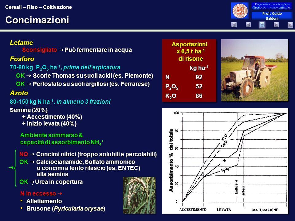 Prof. Guido Baldoni Prof. Guido BaldoniConcimazioni Letame Sconsigliato Può fermentare in acqua Fosforo 70-80 kg P 2 O 5 ha -1, prima dellerpicatura O
