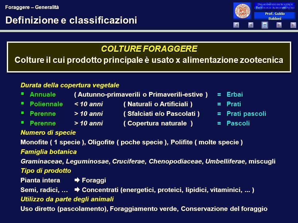 Prof. Guido Baldoni Prof. Guido Baldoni Definizione e classificazioni COLTURE FORAGGERE Colture il cui prodotto principale è usato x alimentazione zoo