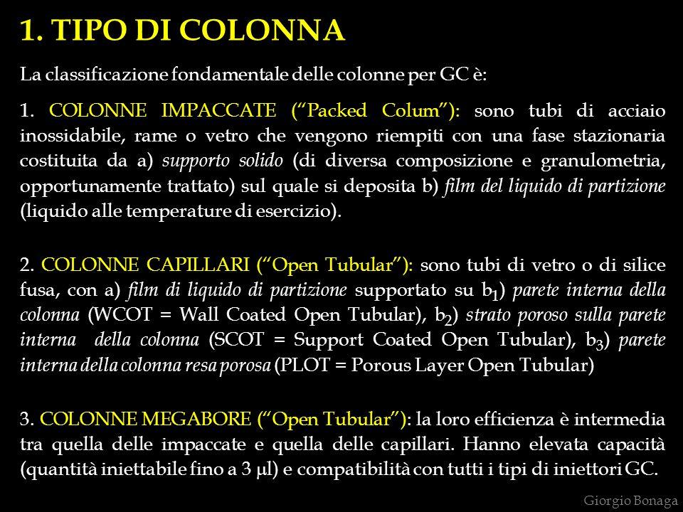 1.TIPO DI COLONNA La classificazione fondamentale delle colonne per GC è: 1.