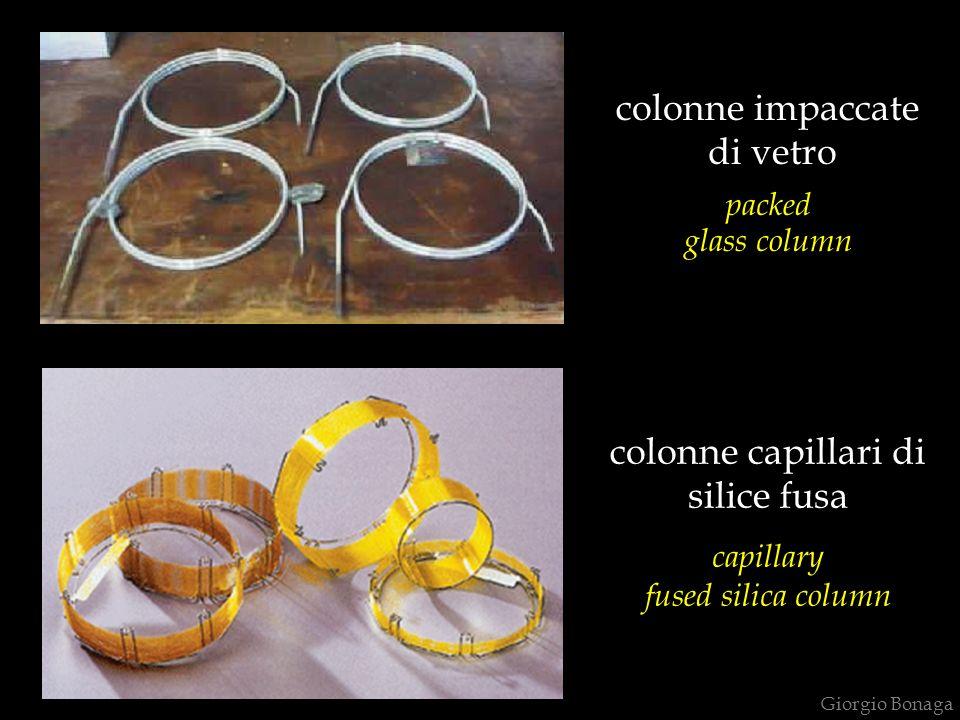 colonne capillari di silice fusa capillary fused silica column colonne impaccate di vetro packed glass column Giorgio Bonaga