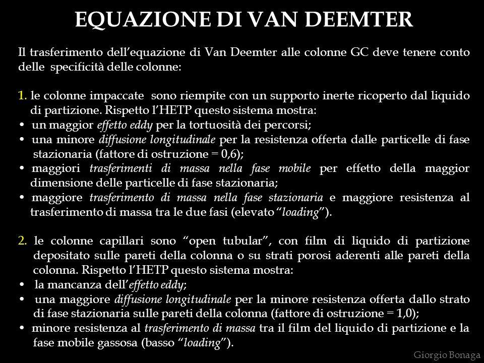 EQUAZIONE DI VAN DEEMTER Il trasferimento dellequazione di Van Deemter alle colonne GC deve tenere conto delle specificità delle colonne: 1.