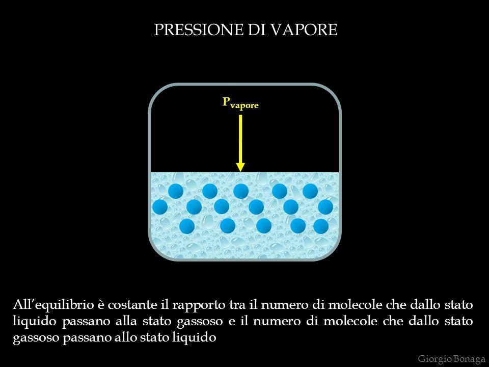 PRESSIONE DI VAPORE Tensione di vapore P vapore Allequilibrio è costante il rapporto tra il numero di molecole che dallo stato liquido passano alla stato gassoso e il numero di molecole che dallo stato gassoso passano allo stato liquido Giorgio Bonaga