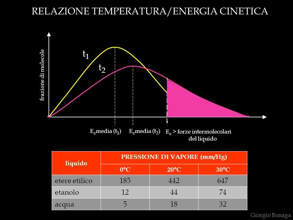 RELAZIONE TEMPERATURA/ENERGIA CINETICA E c media (t 1 )E c media (t 2 ) E c > forze intermolecolari del liquido t1t1 t2t2 frazione di molecole Giorgio Bonaga liquido PRESSIONE DI VAPORE (mm/Hg) 0°C20°C30°C etere etilico185442647 etanolo124474 acqua51832