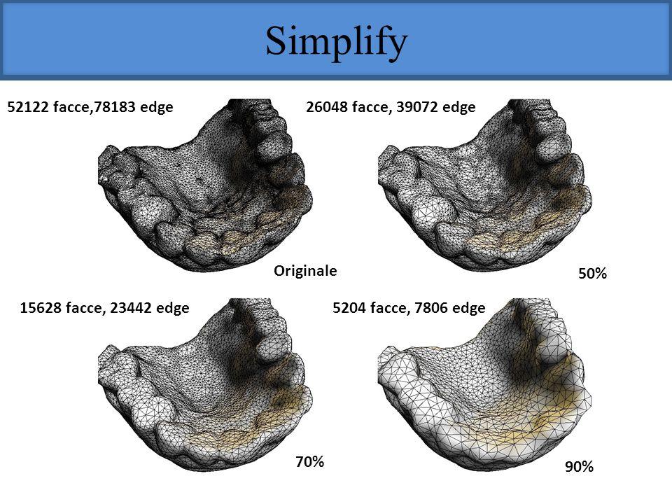 Simplify Originale 50% 70% 90% 52122 facce,78183 edge26048 facce, 39072 edge 15628 facce, 23442 edge5204 facce, 7806 edge