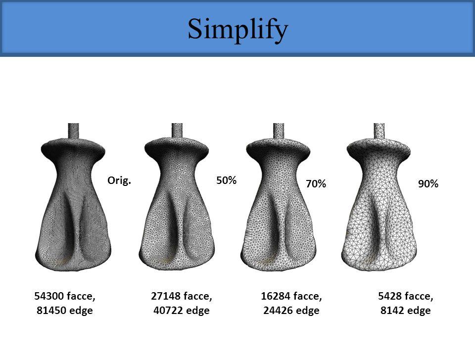 Simplify Orig.50% 70%90% 54300 facce, 81450 edge 27148 facce, 40722 edge 16284 facce, 24426 edge 5428 facce, 8142 edge