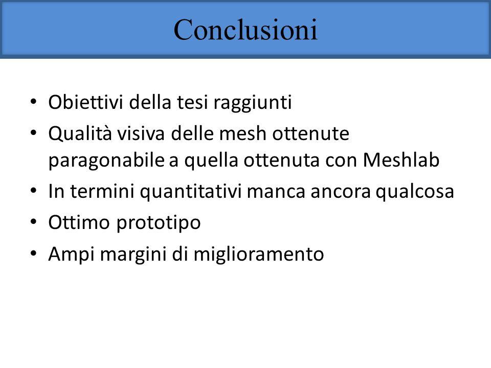Conclusioni Obiettivi della tesi raggiunti Qualità visiva delle mesh ottenute paragonabile a quella ottenuta con Meshlab In termini quantitativi manca