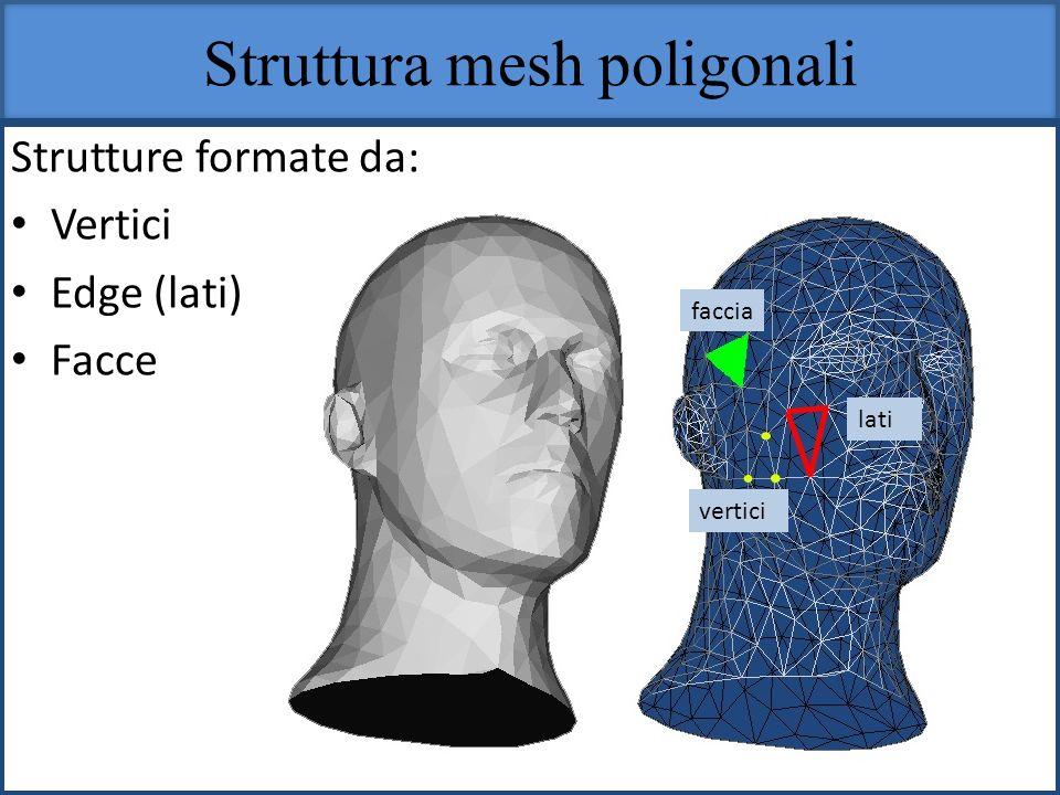 Struttura mesh poligonali Strutture formate da: Vertici Edge (lati) Facce faccia lati vertici