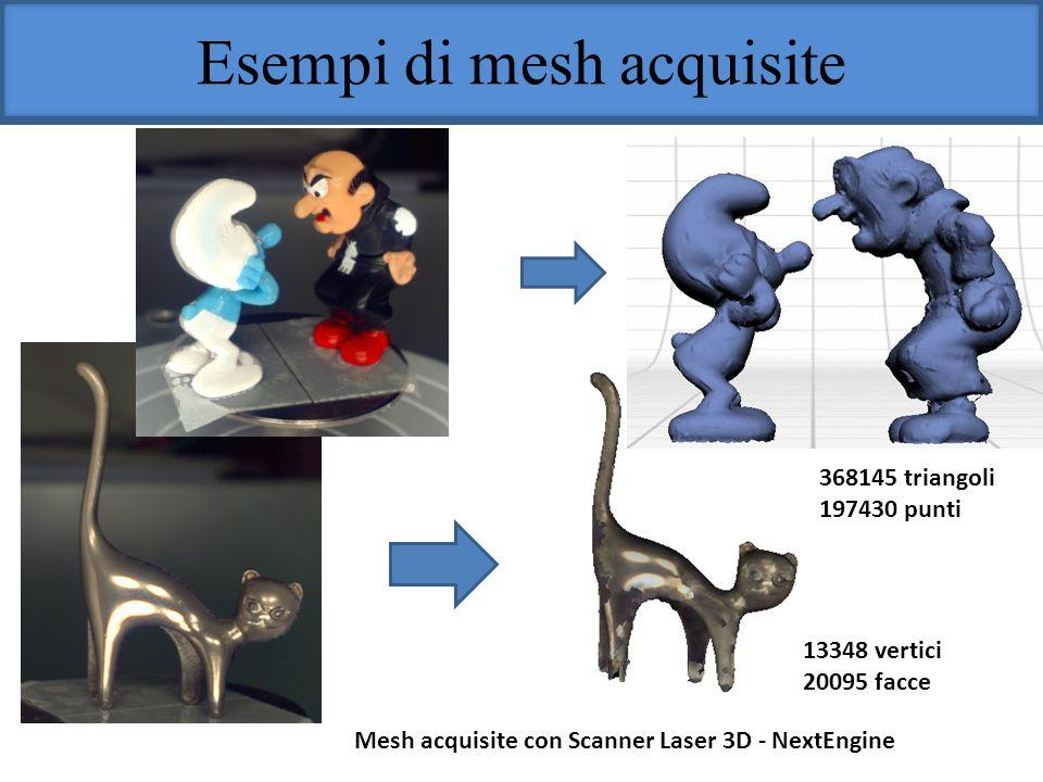 Esempi di mesh acquisite Mesh acquisite con Scanner Laser 3D - NextEngine 368145 triangoli 197430 punti 13348 vertici 20095 facce