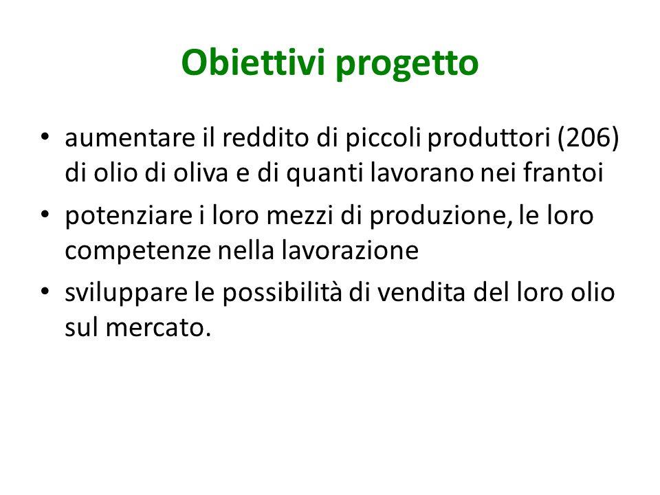 Obiettivi progetto aumentare il reddito di piccoli produttori (206) di olio di oliva e di quanti lavorano nei frantoi potenziare i loro mezzi di produ