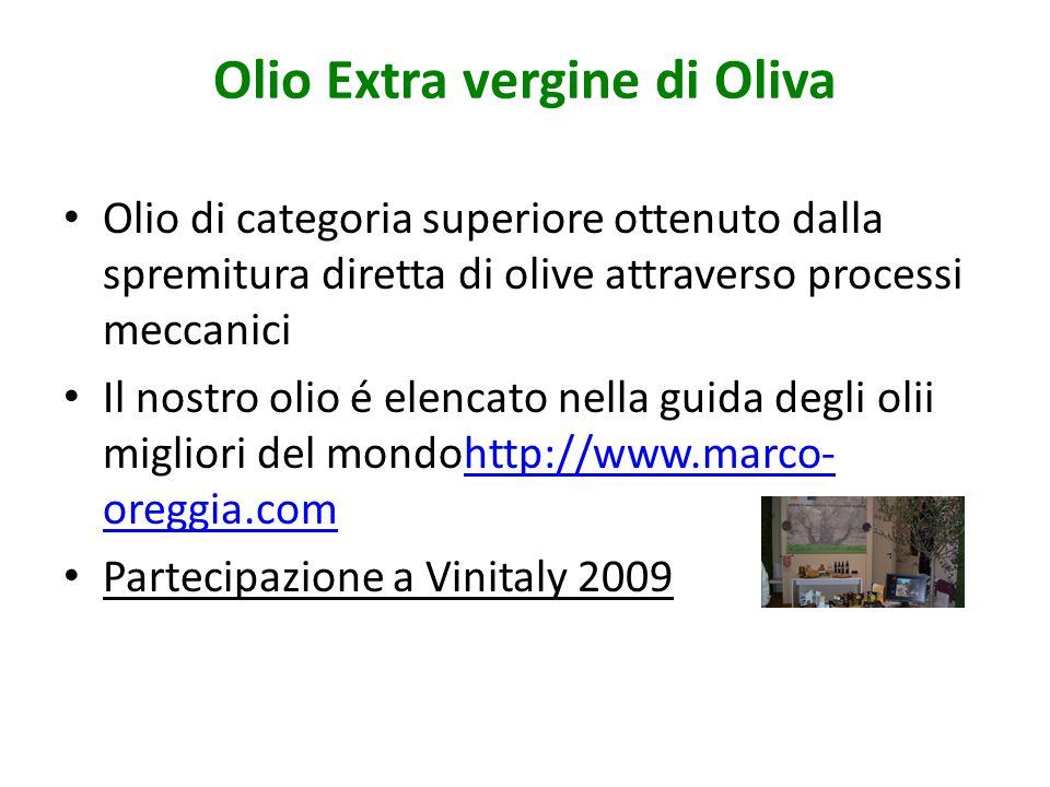 Olio Extra vergine di Oliva Olio di categoria superiore ottenuto dalla spremitura diretta di olive attraverso processi meccanici Il nostro olio é elen